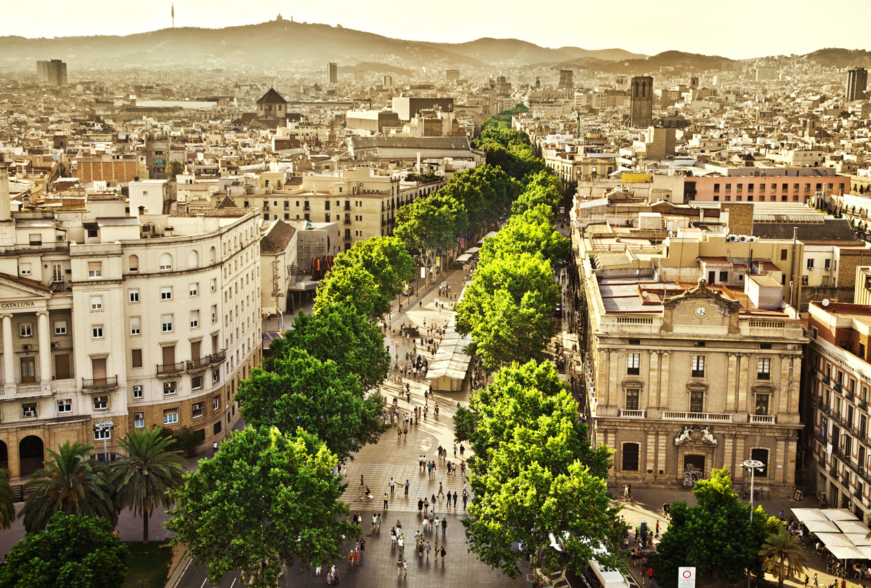 Aerial view of Las Ramblas, Barcelona, Spain