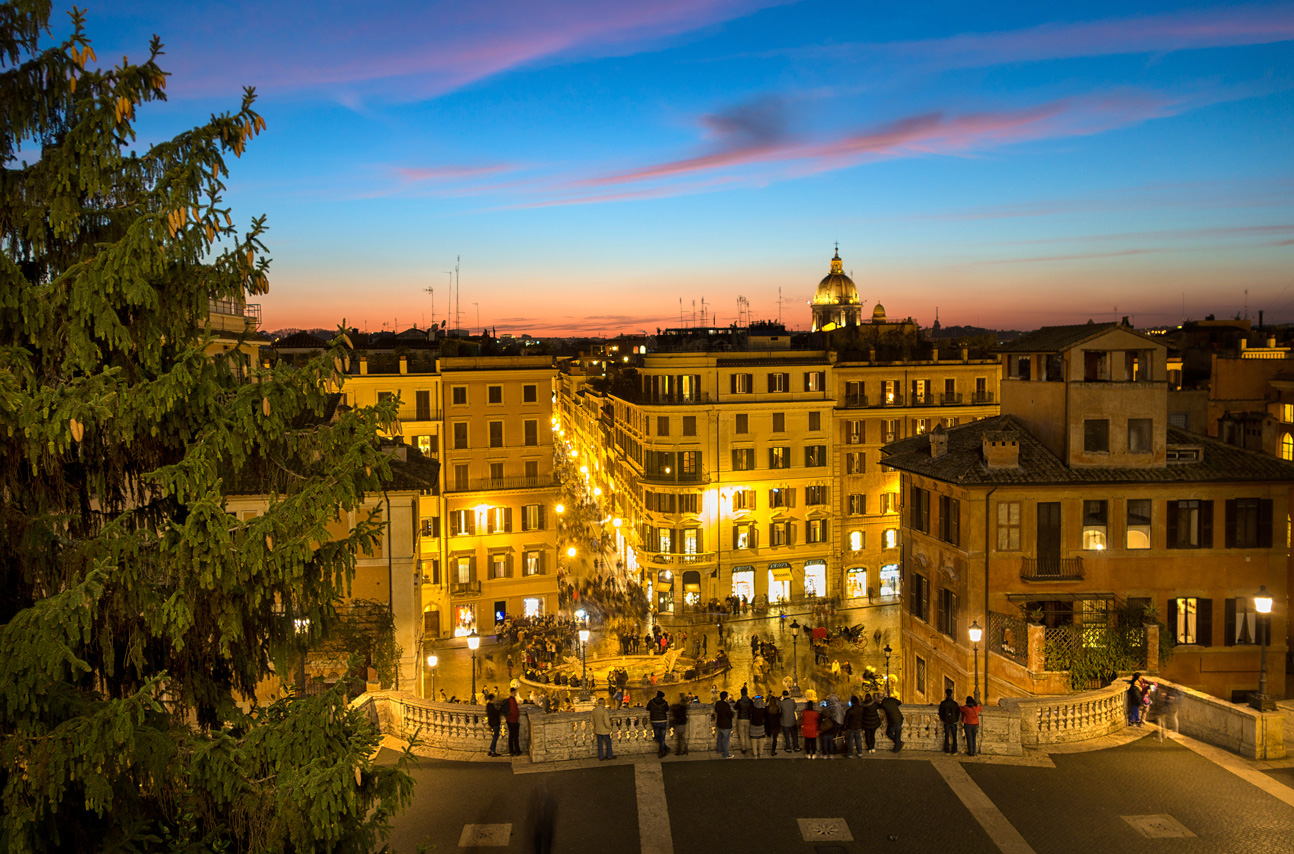 Via Condotti and the Spanish Steps at sunset